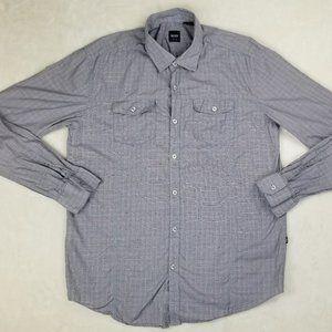Hugo Boss Men's Slim Fit XL Gray Pink Check Shirt